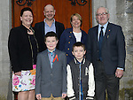 Oliver Carroll who was confirmed at the The Church of the Immaculate Conception Termonfeckin pictured with his family. Photo:Colin Bell/pressphotos.ie