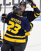 Josh Myers (Merrimack - 23), Justin Mansfield (Merrimack - 27) - The Northeastern University Huskies defeated the visiting Merrimack College Warriors 4-2 (EN) on Wednesday, October 10, 2012, at Matthews Arena in Boston, Massachusetts.