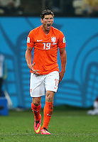 Klaas Jan Huntelaar of Netherlands shouts in frustration
