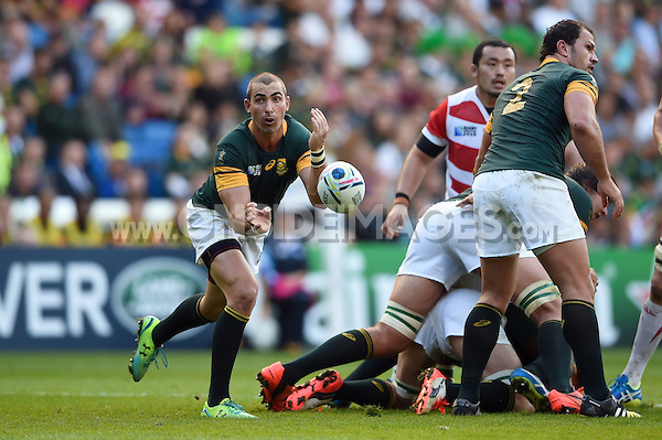 Ruan Pienaar of South Africa passes the ball. Rugby World Cup Pool B match between South Africa and Japan on September 19, 2015 at the Brighton Community Stadium in Brighton, England. Photo by: Patrick Khachfe / Onside Images
