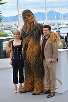 Chewbacca, Alden Ehrenreich &amp; Emilia Clarke at the photocall for &quot;Solo: A Star Wars Story&quot; at the 71st Festival de Cannes, Cannes, France 15 May 2018<br /> Picture: Paul Smith/Featureflash/SilverHub 0208 004 5359 sales@silverhubmedia.com