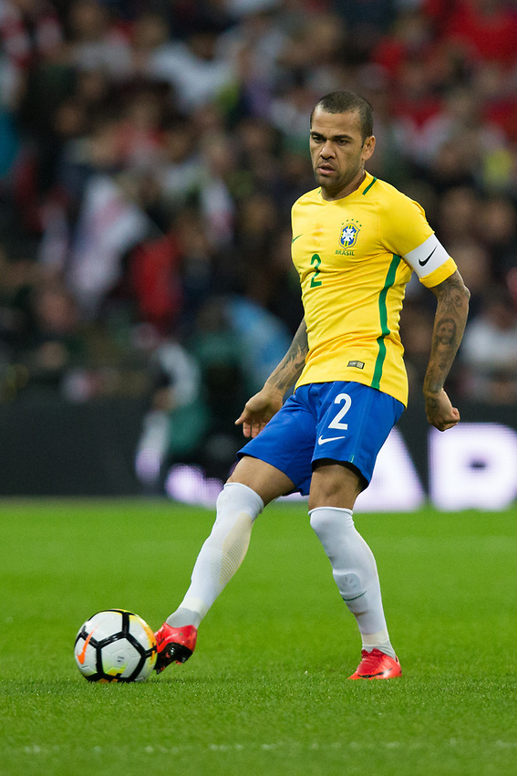 Brazil&rsquo;s Dani Alves in action <br /> <br /> Photographer Craig Mercer/CameraSport<br /> <br /> The Bobby Moore Fund International - England v Brazil - Tuesday 14th November 2017 Wembley Stadium - London  <br /> <br /> World Copyright &copy; 2017 CameraSport. All rights reserved. 43 Linden Ave. Countesthorpe. Leicester. England. LE8 5PG - Tel: +44 (0) 116 277 4147 - admin@camerasport.com - www.camerasport.com
