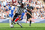 Lenell John-Lewis of Grimsby Town is fouled by Mark McChrystal of Bristol Rovers during the 2015 Vanarama Conference Promotion Final match between Grimsby Town and Bristol Rovers at Wembley Stadium, London<br /> Picture by David Horn/eXtreme aperture photography +44 7545 970036<br /> 17/05/2015