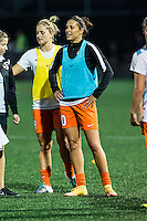 Allston, MA - Wednesday Aug. 31, 2016: Ellie Brush, Carli Lloyd prior to a regular season National Women's Soccer League (NWSL) match between the Boston Breakers and the Houston Dash at Jordan Field.
