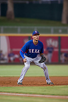 AZL Rangers third baseman Obie Ricumstrict (66) on defense against the AZL Indians on August 26, 2017 at Goodyear Ball Park in Goodyear, Arizona. AZL Indians defeated the AZL Rangers 5-3. (Zachary Lucy/Four Seam Images)