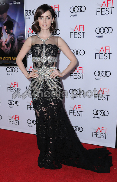 "10 November 2016 - Hollywood, California. Lily Collins. AFI FEST 2016 - Opening Night Premiere Of ""Rules Don't Apply"" held at TCL Chinese Theater. Photo Credit: Birdie Thompson/AdMedia"