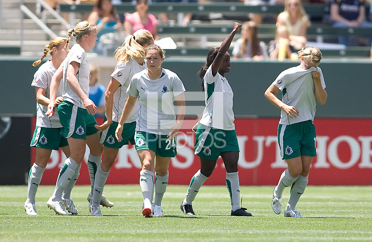 St. Louis Athletica forward Eniola Aluka celebrates her goal with teammates. The St. Louis Athletica defeated the LA Sol 1-0 at Home Depot Center stadium in Carson, California Wednesday afternoon July 8, 2009. .