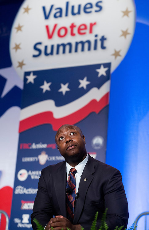UNITED STATES - OCTOBER 11: Sen. Tim Scott, R-S.C., addresses a group conservative activists at the Values Voter Summit in the Omni Shoreham Hotel. The annual gathering is hosted by the Family Research Council. (Photo By Tom Williams/CQ Roll Call)