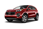 Stock pictures of low aggressive front three quarter view of a 2017 KIA Sportage EX 5 Door SUV