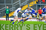 Laune Rangers Peter Crowley tackles Kerins O'Rahillys Barry John Keane during their Senior Club Championship semi final clash in Fitzgerald Stadium on Saturday