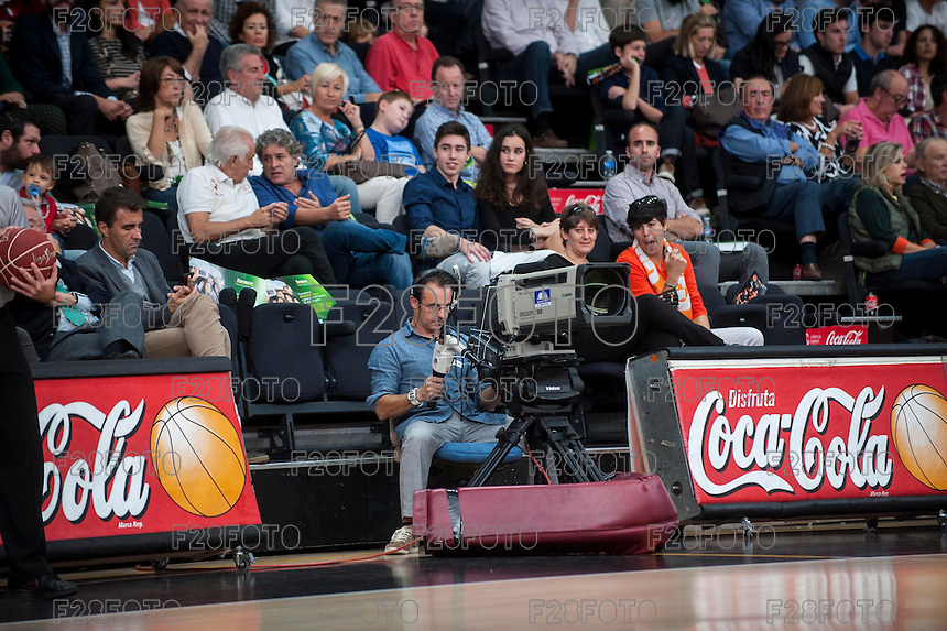 VALENCIA, SPAIN - OCTOBER 18: TV camera during ENDESA LEAGUE match between Valencia Basket Club and FIATC Joventut at Fonteta Stadium on October 18, 2015 in Valencia, Spain