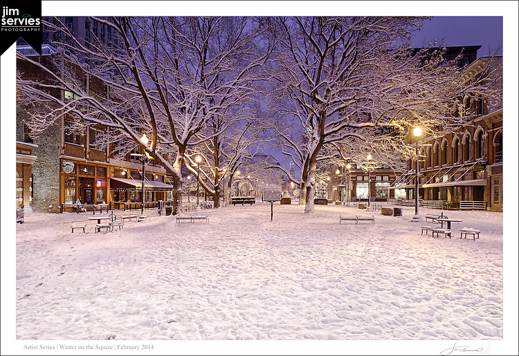 "The first print in a four part series entitled: ""Winter on the Square"".  Please see the ""Fine Art 