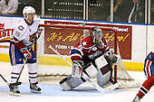 March 15, 2009:  Goalie Tyler Plante (35) of the Rochester Amerks, AHL affiliate of Florida Panthers, during the third period of a regular season game at the Blue Cross Arena in Rochester, NY.  Hamilton defeated Rochester 4-3 in a shoot out.  Photo Copyright Mike Janes Photography 2009