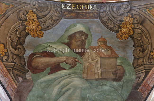 Ceiling fresco of Ezekiel, old testament Hebrew prophet, in the alcoves of the Capella de la Santa Cinta, built 1672-1725 in Baroque style, in the Cathedral of St Mary, designed by Benito Dalguayre in Catalan Gothic style and begun 1347 on the site of a Romanesque cathedral, consecrated 1447 and completed in 1757, Tortosa, Catalonia, Spain. The cathedral has 3 naves with chapels between the buttresses and an ambulatory with radial chapels. Picture by Manuel Cohen