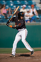 San Jose Giants first baseman Gio Brusa (26) at bat during a California League game against the Lancaster JetHawks at San Jose Municipal Stadium on May 12, 2018 in San Jose, California. Lancaster defeated San Jose 7-6. (Zachary Lucy/Four Seam Images)