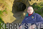 DISCOVERY: Local historian Danny Houlihan beside one of the openings in the cliff face under the castle in Ballybunion which it is believed lead to a network of soutterains and underground passageways.