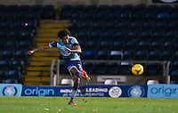Sido Jombati of Wycombe Wanderers hits a free kick at goal during the The Checkatrade Trophy Southern Group D match between Wycombe Wanderers and Coventry City at Adams Park, High Wycombe, England on 9 November 2016. Photo by Andy Rowland.