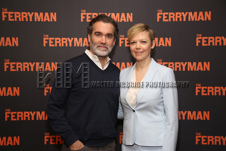 "Brian d'Arcy James and Emily Bergl attends the ""The Ferryman"" cast change photo call on January 17, 2019 at the Sardi's in New York City."