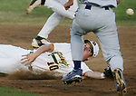 """DeLand High School's Andrew Thompson (10) dives for a passed ball as Fletcher's Justin Preckajlo (7) is able to stand up and take another base on a steal during the Region 1-6A quarterfinal round. """"Missed Opportunity"""" dabcp"""
