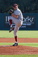 HOUSTON, TEXAS-Feb. 18, 2011: Mark Appel, Stanford's starting pitcher,  delivers another pitch during the game at Rice.  Stanford defeated Rice University 5-3.