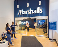 Customers in the brand new Marshalls store in Lower Manhattan in New York during it's grand opening on Thursday, May 18, 2017. The TJX Companies, parent of Marshalls and T. J. Maxx, after 10 quarters of sales growth, recently reported sales growth that missed analysts' expectations. Unfavorable weather was cited as the reason.  (© Richard B. Levine)