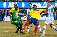 Ecuador midfielder Jorge Guagua (2) clears a ball. Argentina and Ecuador played to a 0-0 tie during an international friendly at MetLife Stadium in East Rutherford, NJ, on November 15, 2013.