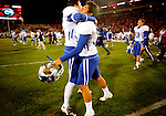 Senior kicker Lones Seiber and sophomore kicker and punter Ryan Tydlacka celebrate UK's win 34-27 win over the University of Georgia bulldogs on Saturday, Nov. 21, 2009 at Sanford Stadium in Athens, Ga.