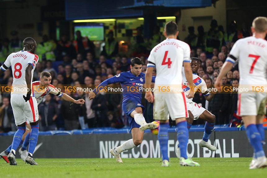 Alvaro Morata scores Chelsea's opening goal during Chelsea vs Crystal Palace, Premier League Football at Stamford Bridge on 4th November 2018