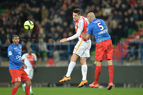 04.03.2016. Caen, France. French League 1 football. Caen versus Monaco.  GUIDO CARRILLO (mon) wins the header from Jordan ADEOTI (caen)