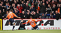 Matthew Barnes-Homer of Luton celebrates in front of the Luton fans after scoring the winning goal  during the  Blue Square Premier match between Stevenage Borough and Luton Town at the Lamex Stadium, Broadhall Way, Stevenage on Saturday 3rd April, 2010..© Kevin Coleman 2010 .