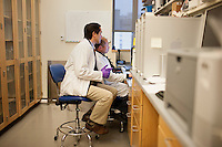 Dr. Dan Barouch (left) looks over recent data from Dr. Jinyan Liu's recent research on immune responses after antibody treatments in the Barouch Lab at Beth Israel Deaconess Medical Center and Harvard Medical School in Boston, Massachusetts, USA. Jinyan Liu is and MD PhD and staff scientist.<br /> <br /> Dr. Dan Barouch is Professor of Medicine and physician at Beth Israel Deaconess Medical Center and Harvard Medical School in Boston, Massachusetts, USA. He is director of the Barouch Lab at the Center for Virology and Vaccine Research at Beth Israel Deaconess Medical Center and has recently published research on the evaluation of novel antibody therapy for HIV infection.<br /> <br /> CREDIT: M. Scott Brauer for the Wall Street Journal<br /> AIDS