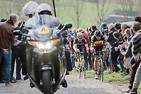 Philippe Gilbert (BEL/Quick Step floors) charging hard up the Paterberg as race leader &amp; thus further thinning the lead group<br /> <br /> 72nd Dwars Door Vlaanderen (1.UWT)<br /> 1day race: Roeselare &rsaquo; Waregem BEL (203.4km)