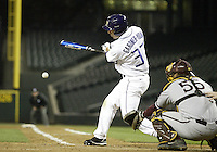 03 April 2009:  Washington's Brendan Gardner-Young fouls off a  Arizona State pitch at Safeco Field in Seattle, WA.  Arizona State won 3-1 over Washington.