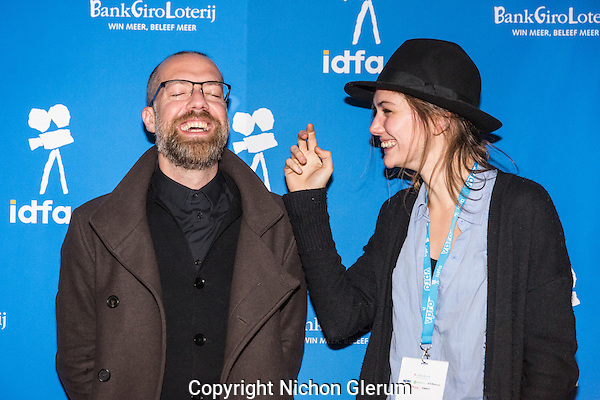 Amsterdam, november 2016, IDFA International Documentary Filmfestival Amsterdam. Premierewand IDFA in de Brakke Grond met: Tineke De Meyer and Duncan Speakman. Photo Nichon Glerum