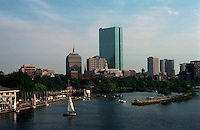 Boston:  Skyline from Charles River Bridge. In center, Hancock Tower, I.M. Pei, 1976, and to left, the earlier Hancock, 1947.  Photo '88.