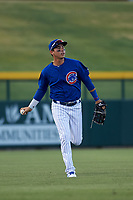 AZL Cubs 1 left fielder Carlos Pacheco (29) jogs off the field between innings of an Arizona League game against the AZL Athletics Gold at Sloan Park on June 20, 2019 in Mesa, Arizona. AZL Athletics Gold defeated AZL Cubs 1 21-3. (Zachary Lucy/Four Seam Images)