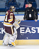 """Aaron Crandall (Duluth - 31), Dale """"Hoagie"""" Haagenson (Duluth - Manager) - The University of Minnesota-Duluth Bulldogs defeated the Union College Dutchmen 2-0 in their NCAA East Regional Semi-Final on Friday, March 25, 2011, at Webster Bank Arena at Harbor Yard in Bridgeport, Connecticut."""