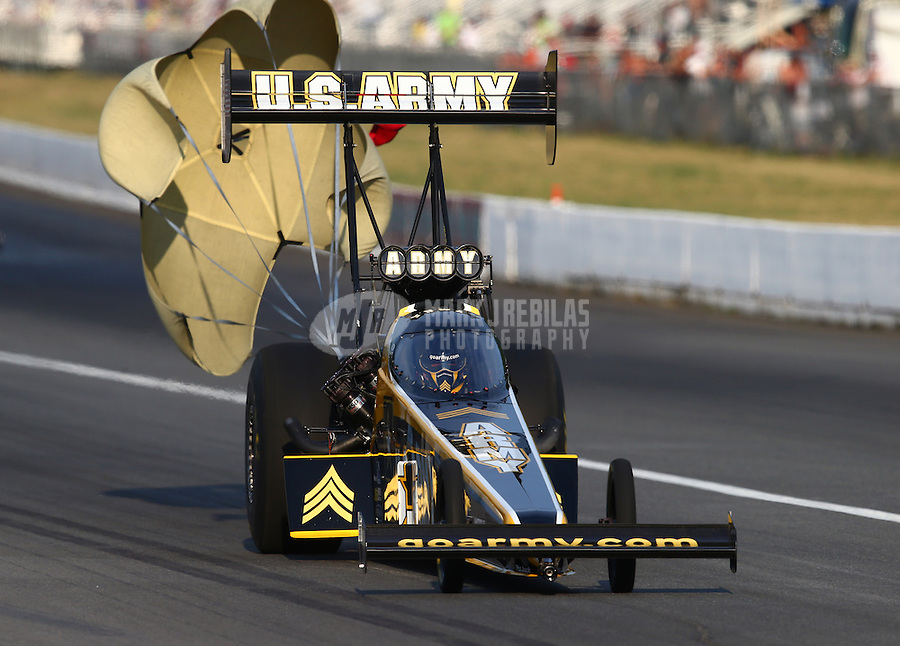 Aug. 1, 2014; Kent, WA, USA; NHRA top fuel dragster driver Tony Schumacher during qualifying for the Northwest Nationals at Pacific Raceways. Mandatory Credit: Mark J. Rebilas-USA TODAY Sports