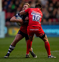 Bristol Bears' Daniel Thomas is tackled high by Sale Sharks' AJ MacGinty<br /> <br /> Photographer Bob Bradford/CameraSport<br /> <br /> Gallagher Premiership - Bristol Bears v Sale Sharks - Friday 3rd May 2019 - Ashton Gate - Bristol<br /> <br /> World Copyright © 2019 CameraSport. All rights reserved. 43 Linden Ave. Countesthorpe. Leicester. England. LE8 5PG - Tel: +44 (0) 116 277 4147 - admin@camerasport.com - www.camerasport.com