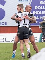 Picture by Allan McKenzie/SWpix.com - 30/03/2018 - Rugby League - Betfred Super League - Hull KR v Hull FC - KC Lightstream Stadium, Hull, England - Hull FC's Jamie Shaul is congratulated by Fetuli Talanoa on scoring a try against Hull KR.