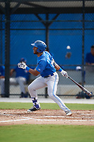 Toronto Blue Jays right fielder Josh Palacios (14) hits a triple during an Instructional League game against the Philadelphia Phillies on October 7, 2017 at the Englebert Complex in Dunedin, Florida.  (Mike Janes/Four Seam Images)