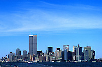 The twin towers of the World Trade Center dominate the New York City skyline in the pre-9-11 days of summer 1999.  (Photo by Brian Cleary/www.bcpix.com)