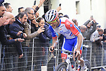 Romain Seigle (FRA) Groupama-FDJ climbs Via Santa Caterina in Siena in the last km of Strade Bianche 2019 running 184km from Siena to Siena, held over the white gravel roads of Tuscany, Italy. 9th March 2019.<br /> Picture: Eoin Clarke | Cyclefile<br /> <br /> <br /> All photos usage must carry mandatory copyright credit (© Cyclefile | Eoin Clarke)