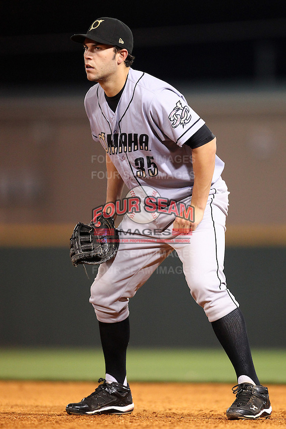Omaha Storm Chasers first baseman Eric Hosmer #35 in the field during a game against the Nashville Sounds at Greer Stadium on April 25, 2011 in Nashville, Tennessee.  Omaha defeated Nashville 2-1.  Photo By Mike Janes/Four Seam Images