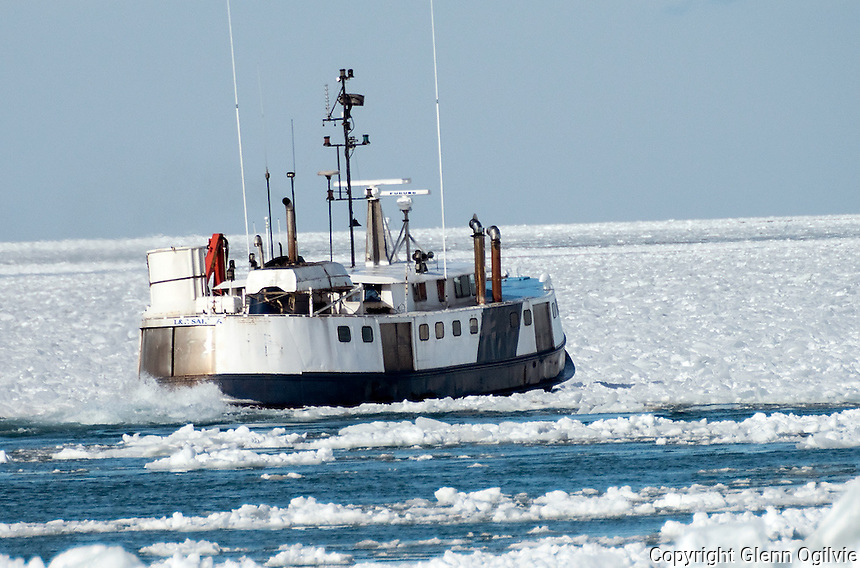 The L&R fishing boat is seen poking at the ice on Lake Huron at the mouth of the St. Clair River in an attempt to get the ice flowing down river. It was to help clear a path for fishing boats making their way to Lake Huron, a Purdy's spokesperson said.