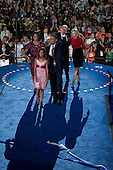 Denver, Colorado<br /> August 28, 2008<br /> <br /> Illinois Senator Barack Obama accepts his nomination for US President in front of 75,000 people at the Democratic National Convention closing night in Denver's Mile High Stadium. Afterwards he is joined by his family, wife Michelle and two daughters Sasha and Malia.