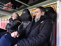 20191221 - LENS , FRANCE : Lens's coach Philippe Montanier pictured during the soccer match between Racing Club de LENS and Niort , on the 19 th matchday in the French Ligue 2 at the Stade Bollaert Delelis stadium , Lens . Saturday 21 December 2019. PHOTO DIRK VUYLSTEKE   SPORTPIX.BE
