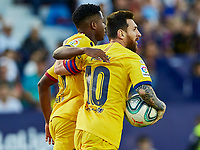 2nd November 2019; Estadi Ciutat de Valencia, Valencia, Spain; La Liga Football, Levante versus FC Barcelona; Lionel Messi of FCB celebrates with Ansu Fati of FCB after scoring an  goal, later to be ruled out by VAR - Editorial Use