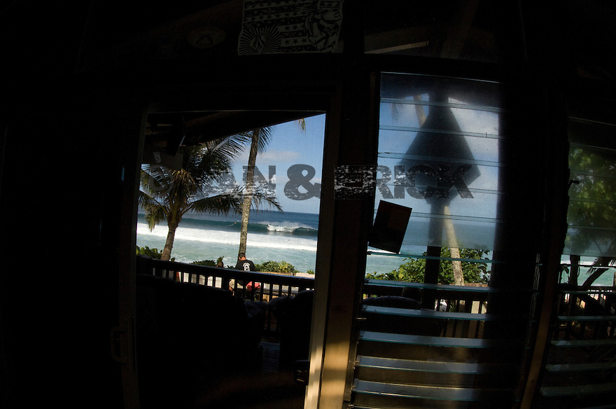 looking out of the Volcom House on the North Shore in Hawaii