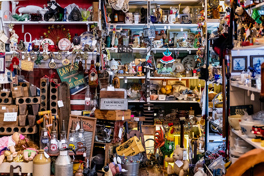 Antique store crowded with collectibles.